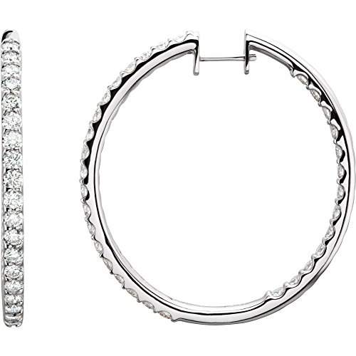 14k White Gold 5 Dwt 5 Dwt Diamond Inside outside Hoop Earrings Jewelry Gifts for Women