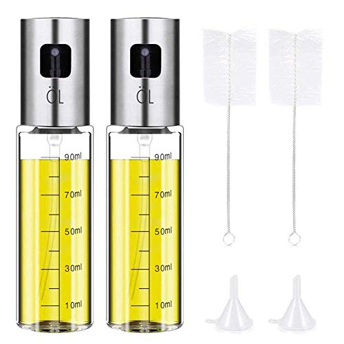 Ideal Swan (2 Pack) Oil Sprayer Bottle 100ml Olivenöl Sprüher ölsprüher Flasche Edelstahl Glasölspender zum Kochen, Grillen, Salat, Backen, Braten, Küchengeräte