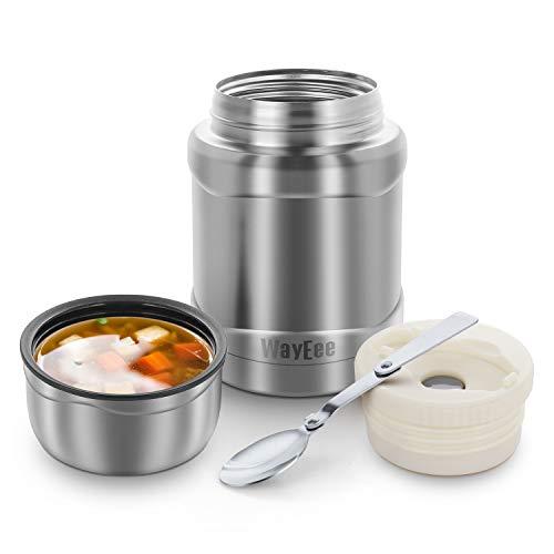 WayEee Thermobehälter 450ml Speisegefäß Edelstahl Isolierbehälter mit Löffel Speisebehälter Thermo Lunchbox für warme Speißen Essen Babynahrung Suppe EIS (Silber)
