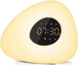 光を起こして、LEDベッドサイドランプ目覚まし時計 カラフルな変色 自然な目覚め 眠っている音楽の光 スマート常夜灯 术灯t