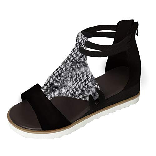Fullwei Women Comfy Platform Wedge Sandals Snakeskin Cheetah Walking Shoe Roman Rope Open Toe Sandals (Black, 11)