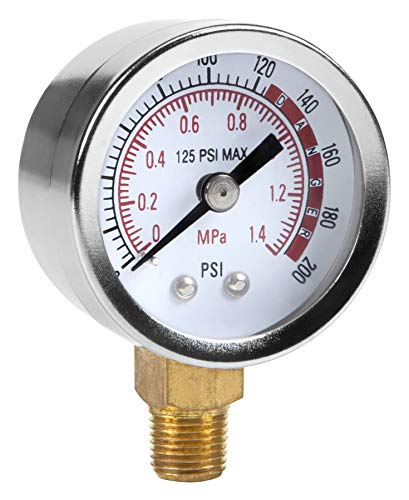 Performance Tool 0200 PSI Air Gauge for Air Tank Accessory W10055