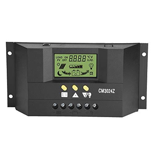 Akozon Solarladeregler, 12V 24V 30A LCD Anzeige Solarregler Zweikanaliges Automatisches Kfz System PWM Solar Laderegler