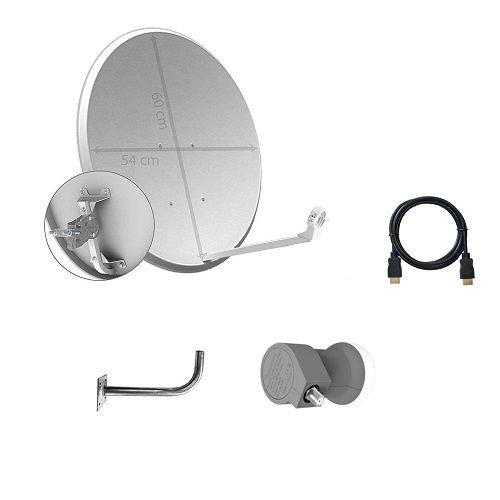 Kit de Antena parabolica de 60 cm LNB y Soporte, Cablepelado