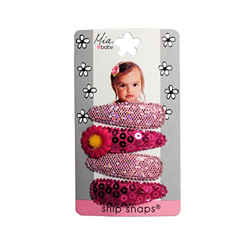 Price comparison product image Mia Snip Snaps,  Hair Accessory,  Hair Barrettes,  Hair Clips with Metallic,  Sequins,  and Pink Daisy,  for Girls,  Babies,  Kids,  Women 4pcs