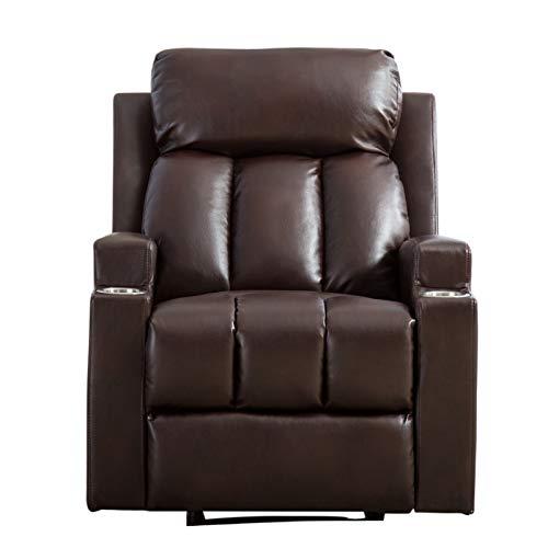 A-myt bequem und schön Kann deprimiert, EIN tiefes Single-Seat-Sofa, das für zeitgleiche Theatersitze geeignet ist, atmungsaktives Lederregler mit 2 Tassenhaltern Einfach und großzügig