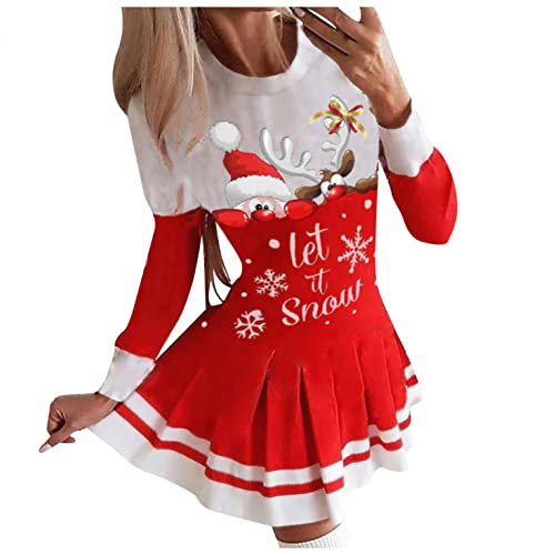Bumplebee Pulloverkleid Weihnachten Damen Frauen Christmas Gedruckt Langarm Tunika Festliches Longshirt Weihnachten Sweatshirt Pullover Kleid, Weihnachtskleid Damen (Rot 6, S)