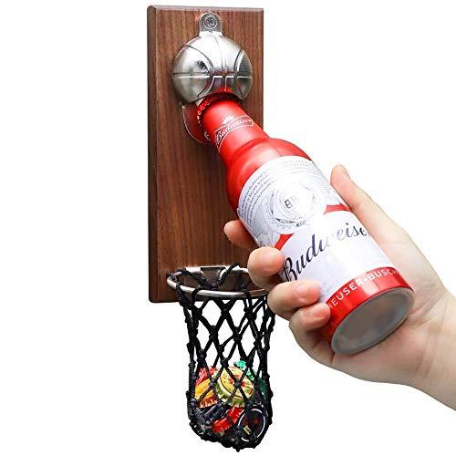 VEIYI Flaschenöffner Bieröffners Wand Bottle Opener Wandflaschenoeffner Bier Deckelöffner mit Auffangbehälter Magnetisch Haftender Wand-Flaschenöffner ohne Bohren, Basketball-Ständer Form