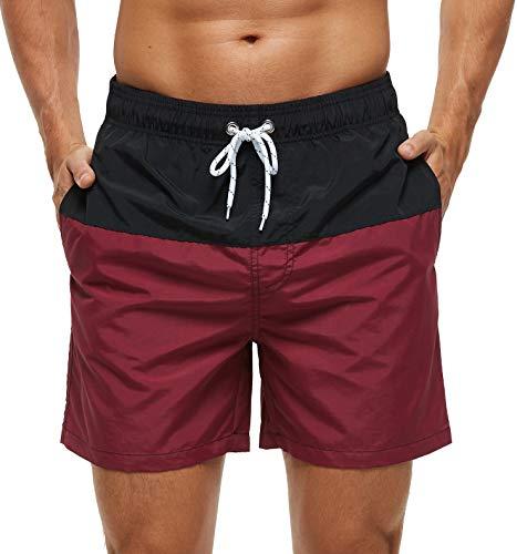 SILKWORLD Men's Swim Trunks Quick Dry Bathing Suit, Beach Shorts with Mesh Lining,Black/Wine Red,Medium