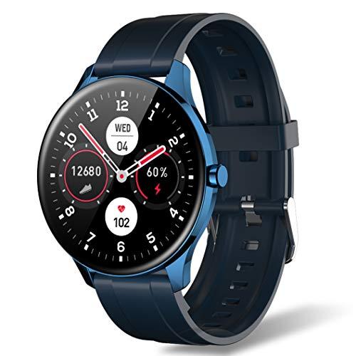 Smartwatch für Herren & Damen, IP68 Wasserdichter 1,3 Zoll Touchscreen Schrittzähler Fitness Tracker Intelligente Sportuhr mit Herzfrequenzmesser Anrufbenachrichtigung für Android iOS (Blau)