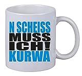 Netspares - Tazza da caffè con scritta in lingua tedesca 'N Scheiss muss ich Kurwa Polen Gag Polish