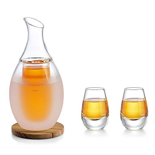 ZENS Sake Set Gläser, 250ml Japanische Sake Karaffe mit 2 Sake Cup Shotgläser Set für Wärmeren oder Kalten Japan Soju Liquor mit Stone Coaster