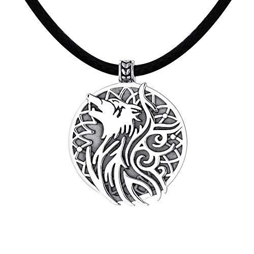 YL Herren Kette Wolf Halskette 925 Sterling Silber Wikinger Anhänger Schmuck 50CM Kettenlänge