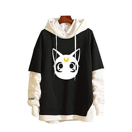 Ga-yinuo Sudadera con Capucha para Niños Y Niñas Negra Ropa Informal Hoodie Negras De Manga Larga para Camiseta Ropa De Anime Sailor Moon,XXL