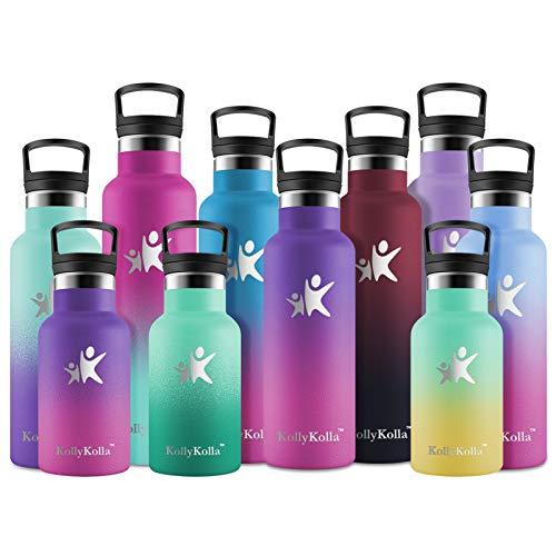 KollyKolla Botella de Agua Acero Inoxidable, Termo Sin BPA Ecológica Reutilizable, Botella Termica con Pajita y Filtro, para Niños & Adultos, Deporte, Oficina (600ml Púrpura Oscuro + Rosa
