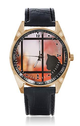 Choeter Funny Mousepad Katzen Custom Personalisierte Herren Damen Armbanduhr Wasserdicht Edelstahl Quarz Armbanduhr mit austauschbarem Lederband