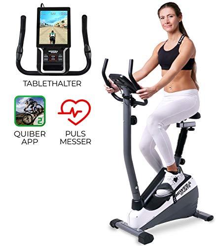 Miweba Sports Ergometer ME300 Trimmrad Cardio Heimtrainer - App Steuerung - 10 Kg Schwungmasse - Pulsgurt - Magnetbremse - LCD Display (Schwarz Weiß)