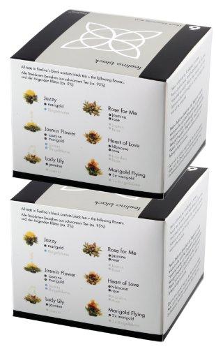 2 Stück der edlen 6er-Box Schwarztee-Teeblumen Feelino Black in toller Probier- und Geschenkbox mit 6 verschiedenen Schwarztee-Teerosen, einzeln vakuumverpackt für max. Frische …