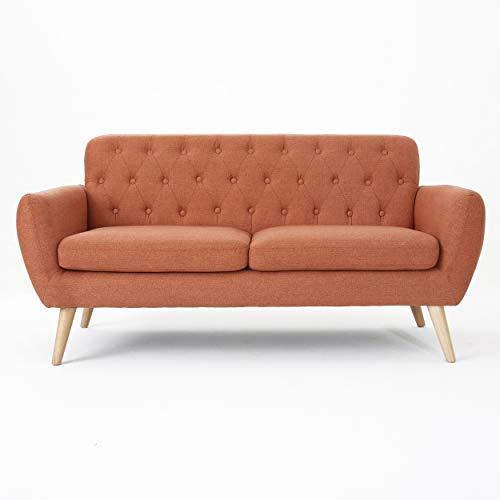 Christopher Knight Home Bernice Mid-Century Modern Tufted Fabric Sofa, Burnt Orange / Natural
