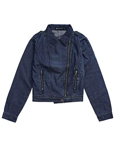 Allegra K Women's Asymmetrical Denim Jacket Moto Washed Lapel Zip Short Jacket S Navy Blue