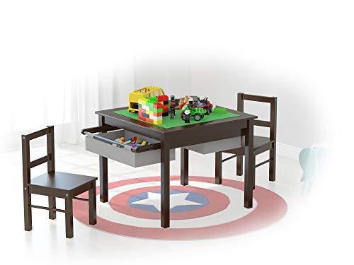 UTEX 2-in-1 Kids Multi Activity Table and 2 Chairs Set with Storage (Espresso with Gray Drawer)