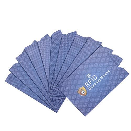 WAHSBAG Portatarjetas, 10 Piezas antirrobo para Protector de Tarjeta de crédito RFID Que bloquea la Funda de la Piel de la Manga