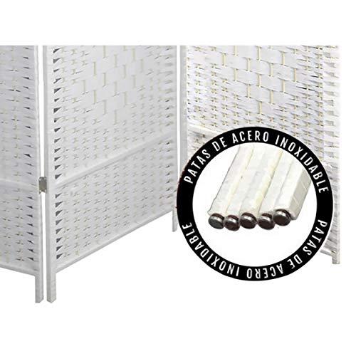 Paravento bianco Country bambù naturale 170 cm, paravento separatore per ambienti/spogliatoio, 3 pannelli 170 x 120 cm, gambe in acciaio