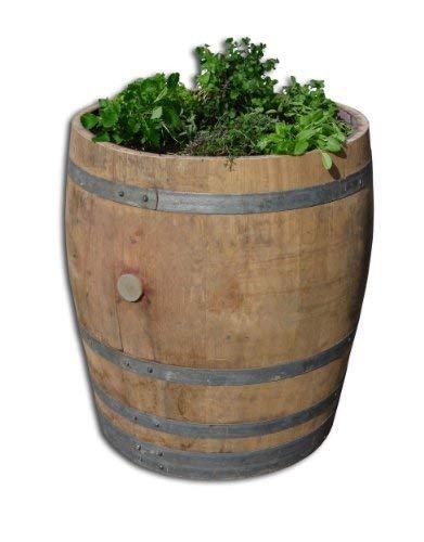 Temesso Tonneau de vin en fût de chêne 225 litres Plate Bande - 2 Parties - bac d'herbe, planteur Herbe (Non traité)
