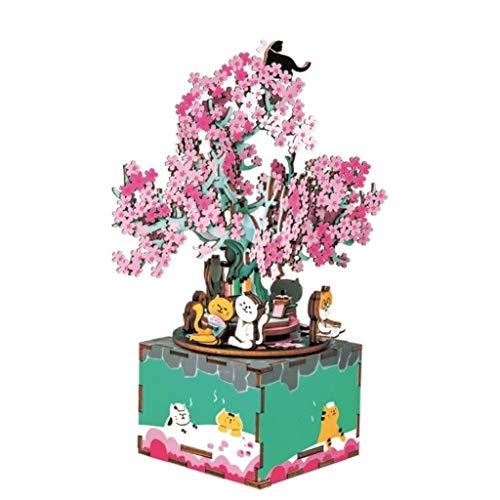 Love lamp DIY Music Box 3D Main Puzzle en Bois Boîtes à Musique créative Under The Cherry Tree Spin Musical Box 13.6 * 14 * 19.5cm for l'anniversaire/Noël
