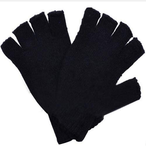 Hot Unisex Winter Fashion Soft Black Simple Warmer Fingerless Mittens Hand Stretch Knitted Gloves - (Color: Black)