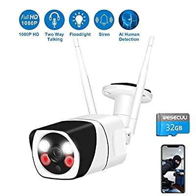 [Floodlight&Audio]Outdoor Security Camera with 32GB TF Card,WESECUU 1080P WiFi Home Camera with Spotlight and Siren Alarm,Two Way Talk Surveillance Camera with Smart Human Detection Color Night Vision