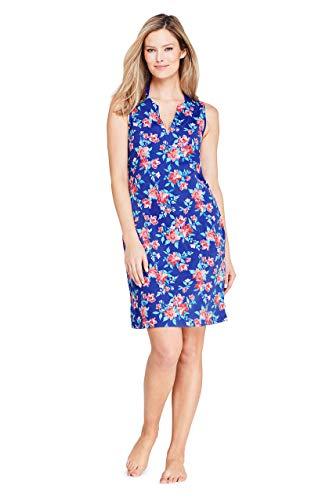 Lands' End Womens Cotton Jersey Sleeveless Cover-up Dress Galaxy Blue Blossom Regular Medium
