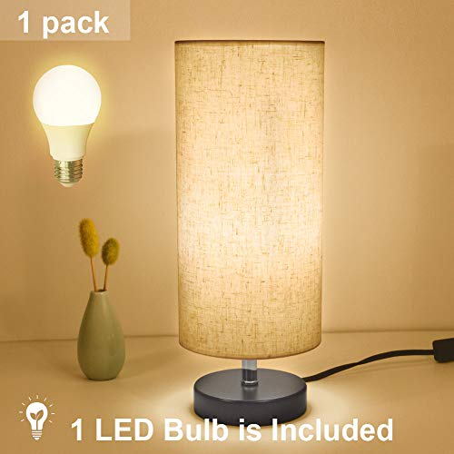DEEPLITE Table Lamp, Small Table Lamp with LED Bulb Included, Bedside Desk Lamp for Bedroom Nightstands, Coffee Tables, Living Rooms, Cylinder Fabric Shade, Wooden Base