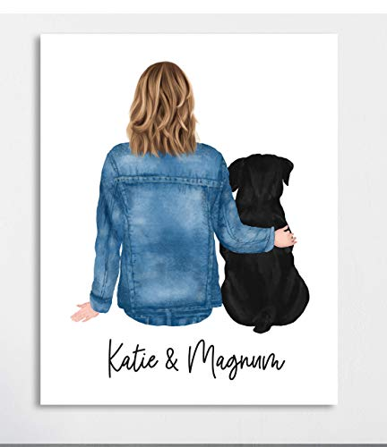 Personalized Gift For Best Friend, Girl and Dog Print, UNFRAMED, 8 X 10 or 11 X 14 Art Print, Dog Mom Gift, Custom Sister Gift Idea, Hairstyle and Dog Breed Options Available, Birthday Gift