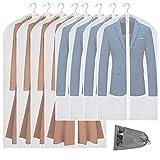 VICKERT Hanging Garment Bag Lightweight Suit Bags, 8 Pack Clear Garment Bags, Full Zipper Suit Bags,PEVA Moth-Proof...