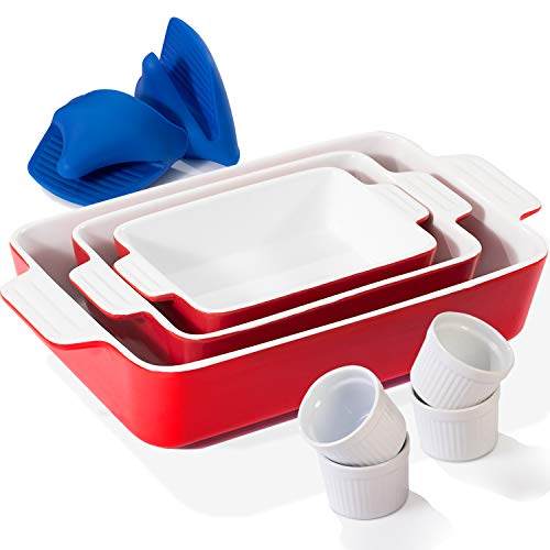 Bakeware Sets, Baking Dish Set for Cooking, Kitchen, Gifts, Includes 3 Ceramic Rectangular Nonstick Casserole Dish, 4 Porcelain Ramekins and 1 Pair of Mini Silicone Oven Gloves(7 Piece)