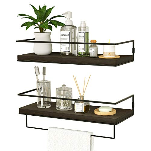 ZGO Floating Shelves for Wall Set of 2, Wall Mounted Storage Shelves with Metal Frame and Towel Rack for Bathroom, Kitchen, Bedroom