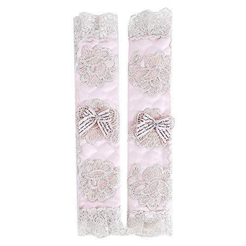 tggh 1 par de guantes para puerta de refrigerador, con diseño de lunares, diseño de flores de encaje y lunares, funda práctica para manija de puerta (color: rosa largo)