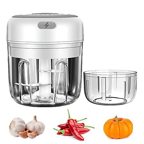 Mini cortador eléctrico de cebolla 100 ml/250 ml picadora de verduras, carga por USB, picadora de ajos, verduras, para carne, frutas, verduras, con cepillos de limpieza