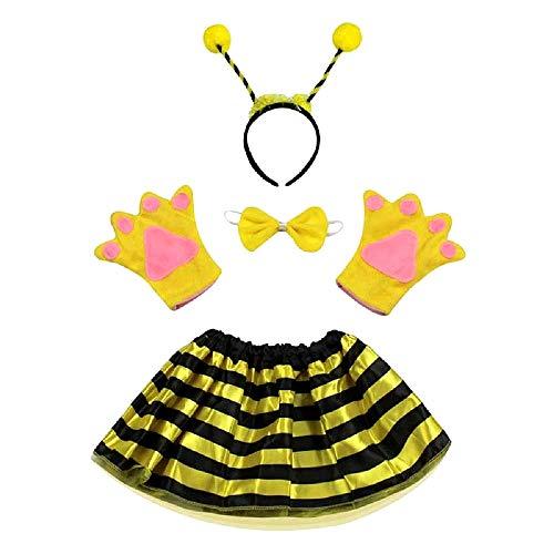 Disfraz de abeja maia apina - niña - tutú - diadema - guantes - pajarita - cola - disfraces para niños - accesorios - halloween - carnaval - amarillo y negro - idea de regalo original papillon cosplay