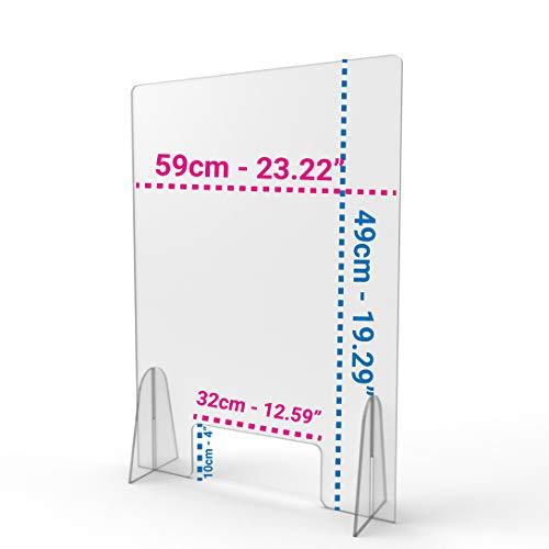 Barriera Parafiato in Plexiglass con apertura 60x50 cm   Pannello parasputi   schermo protettivo per negozi uffici tabaccai farmacie