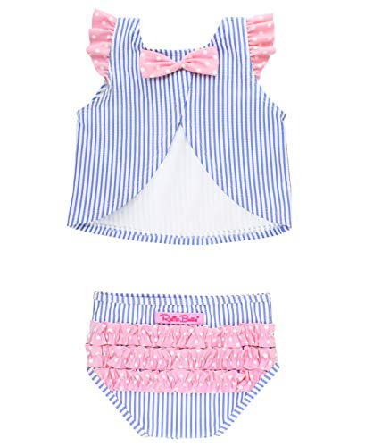RuffleButts Girls Blue Seersucker 2 Piece Swimsuit with Open Back Top - 3T