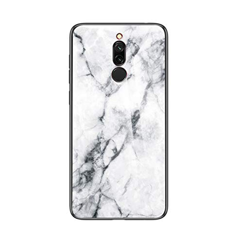 PANXIYUE Funda para Xiaomi Redmi 8,Carcasas de Vidrio mármol Funda,con Marco de Silicona Suave de TPU,Caja de Vidrio Templado Resistente a los arañazos para Xiaomi Redmi 8