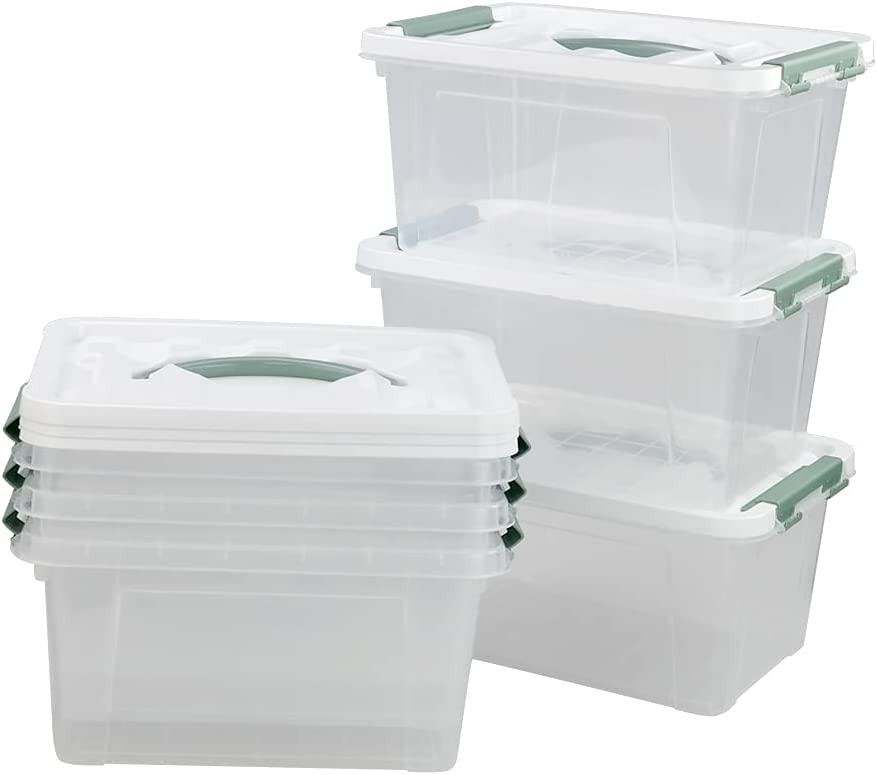 Kiddream 6-pack Clear Plastic Limited time cheap sale Bins Lids Award Storage Latch Box with
