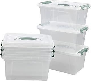 Kiddream Set of 6 Clear Plastic Bins, Latch Storage Box with Handle (Green)