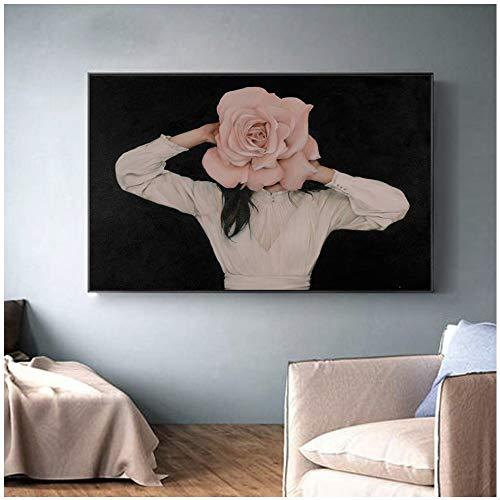 Geiqianjiumai Impresión Moderna en Lienzo Hermosa Dama Flor Pintura Pluma Pared Pintura Chica nórdica Cartel decoración Imagen Sala sin Marco Pintura 50x75 cm