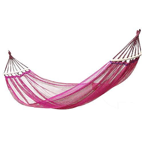 Hamaca para Acampar, Hamaca Hamaca para Exteriores Cama de Columpio Colgante de Nailon Acampar al Aire Libre Hamaca portátil para Acampar (Color: Rosa, Tamaño: 244x130cm)