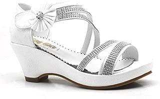 Sarıkaya Gümüş Taşlı Dolgu Topuk Kız Çocuk Abiye Ayakkabı