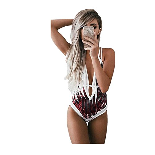 Beautyjourney  Costume da Bagno Donna Intero da Spiaggia Donna Costumi da Bagno Intero da Bagno Bikini Imbottito Push-up Monokini-Bikini Donna Mare Calzedonia Costumi Interi Donna (S, Rosso)