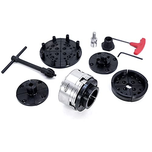 """PHUKIMLONG CKSN375 3.75 Inch Wood Lathe Chuck Set With1""""-8TPI Include 3.75 Gear Chuck 5 Interchangeable Jaws, 3/4""""x16TPI Adapter, 1 Wood Screw"""